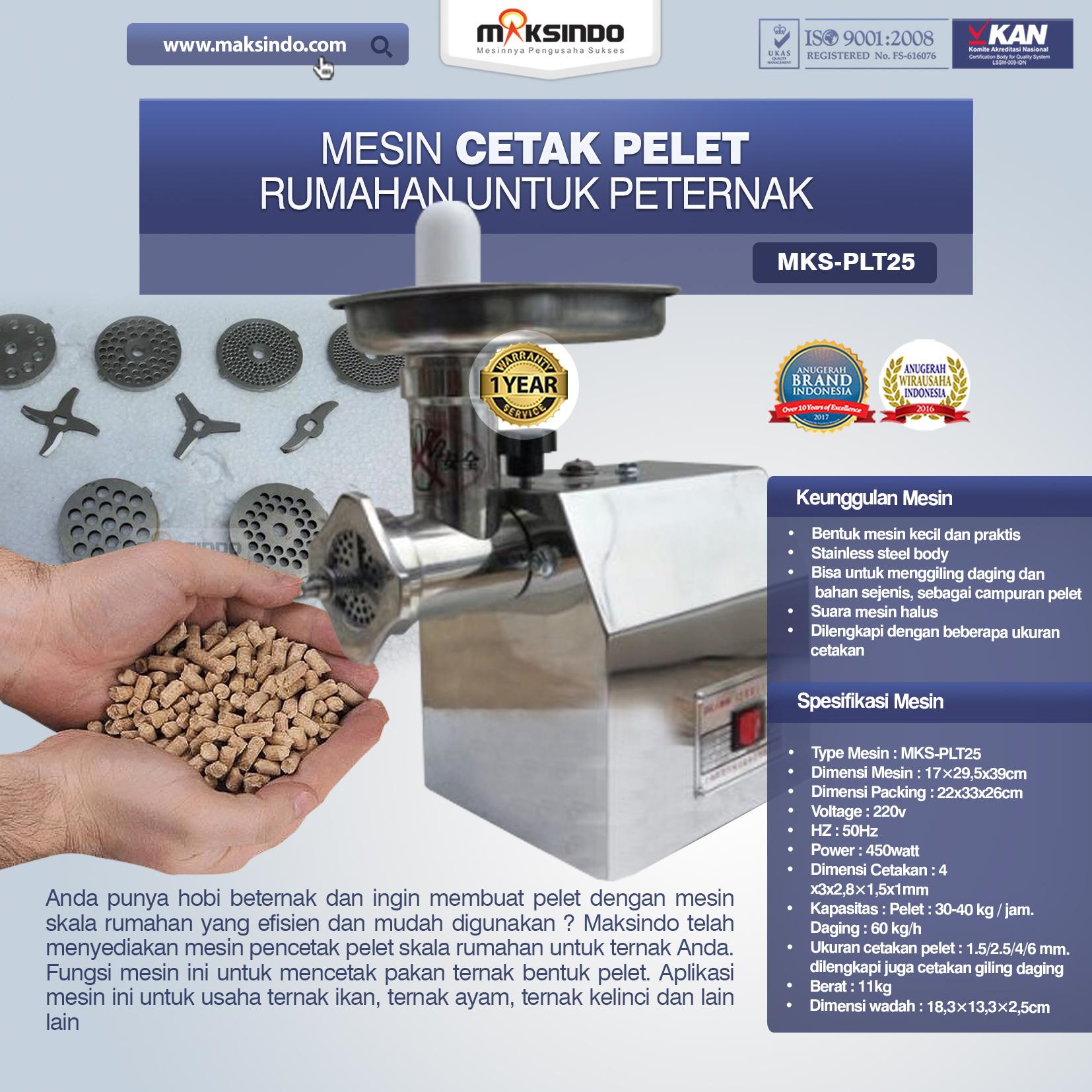 Mesin Cetak Pelet Rumahan Untuk Peternak MKS-PLT25