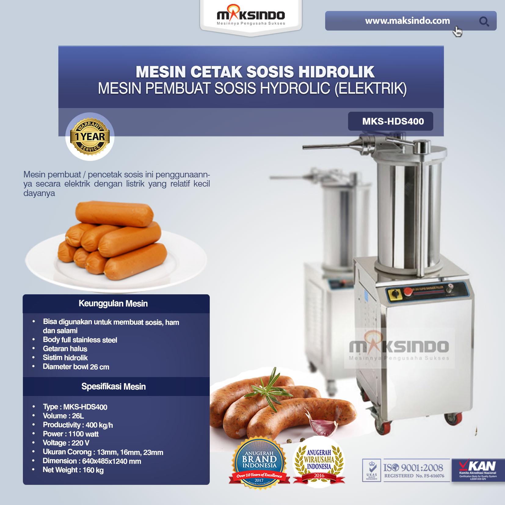 Mesin Cetak Sosis Hidrolik MKS-HDS400 Elektrik
