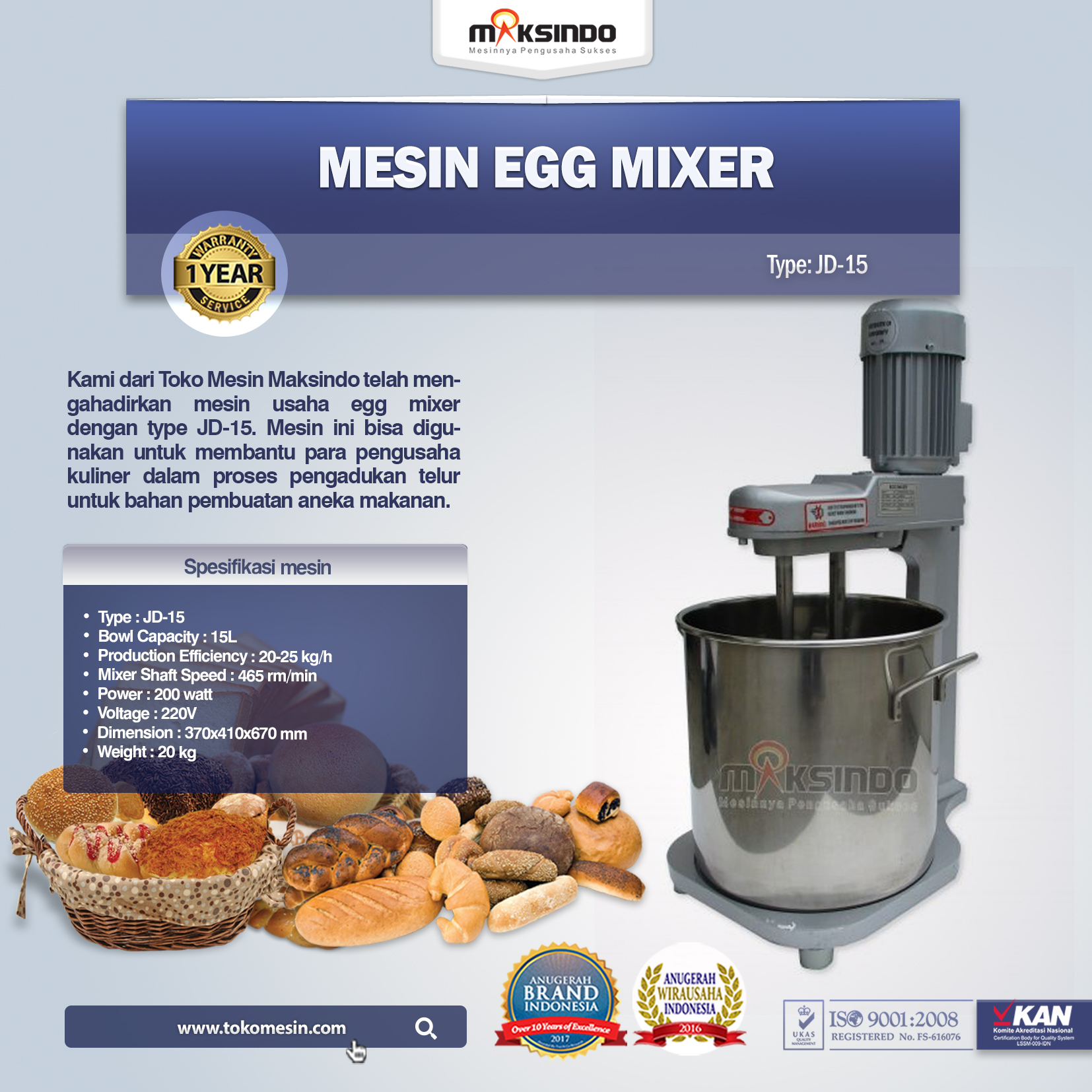 Mesin Egg Mixer JD-15