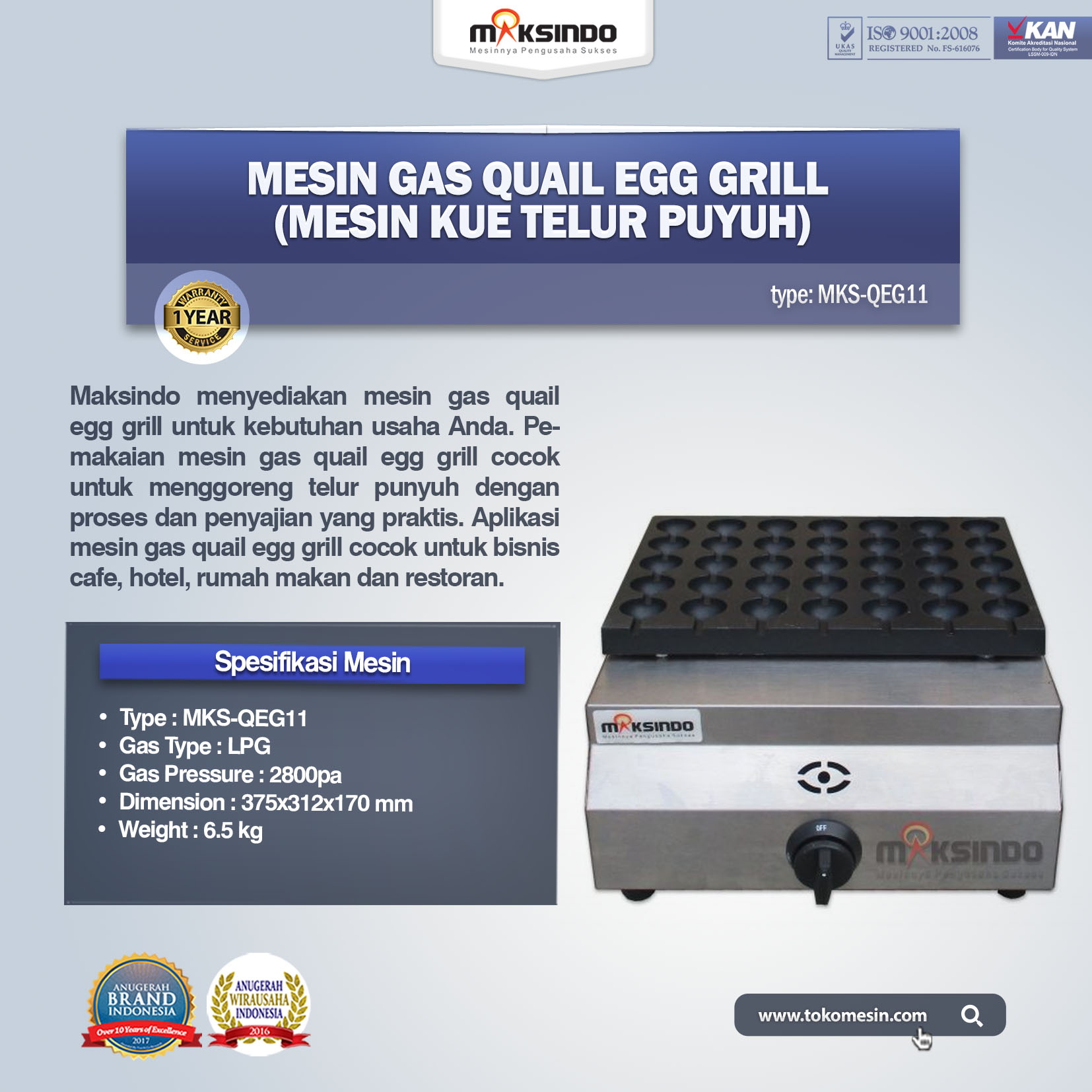 Mesin Gas Quail Egg Grill (Mesin Kue Telur Puyuh) MKS-QEG11