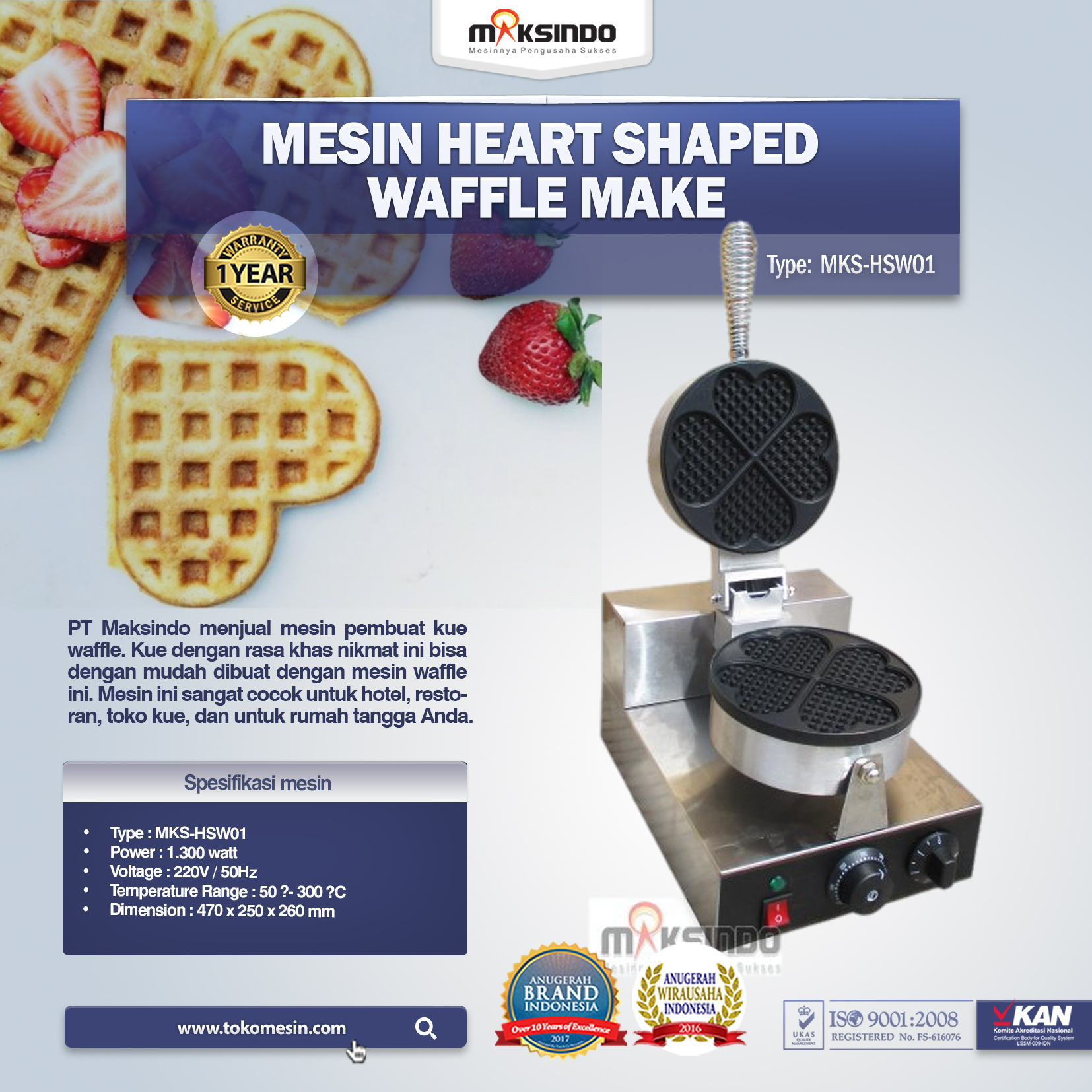 Mesin Heart Shaped Waffle Make MKS-HSW01