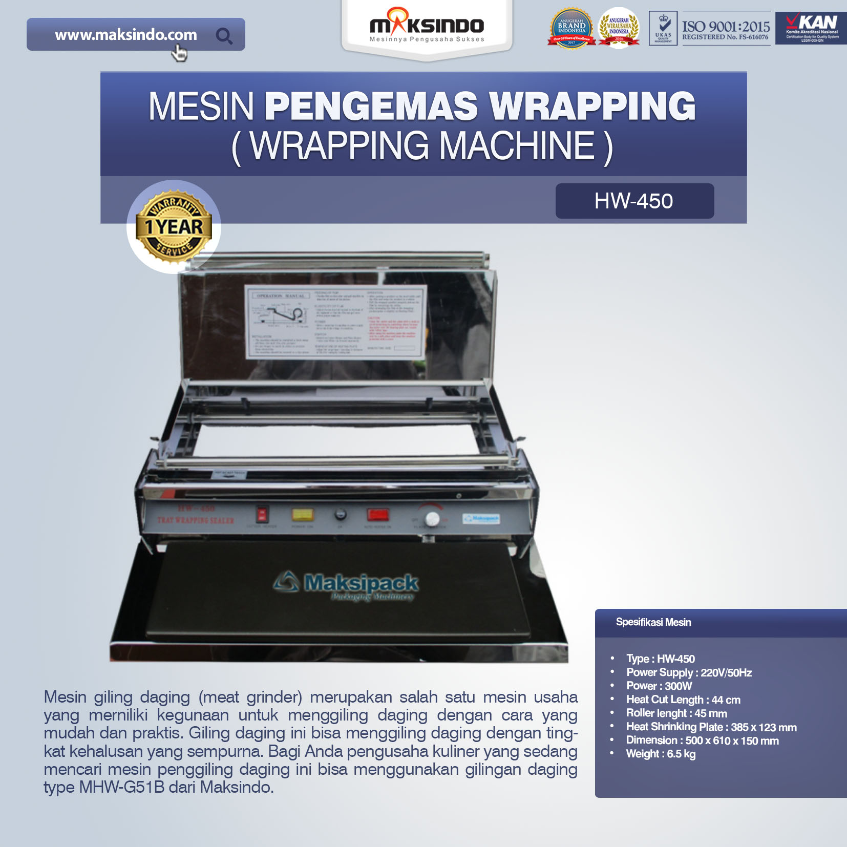 Mesin Pengemas Wrapping (Wrapping Machine) HW-450