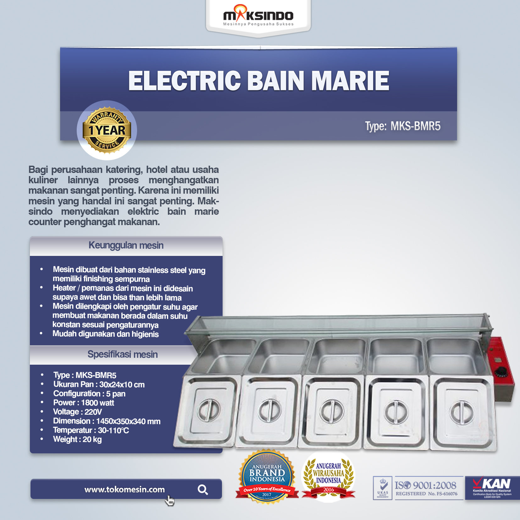 Electric Bain Marie MKS-BMR5
