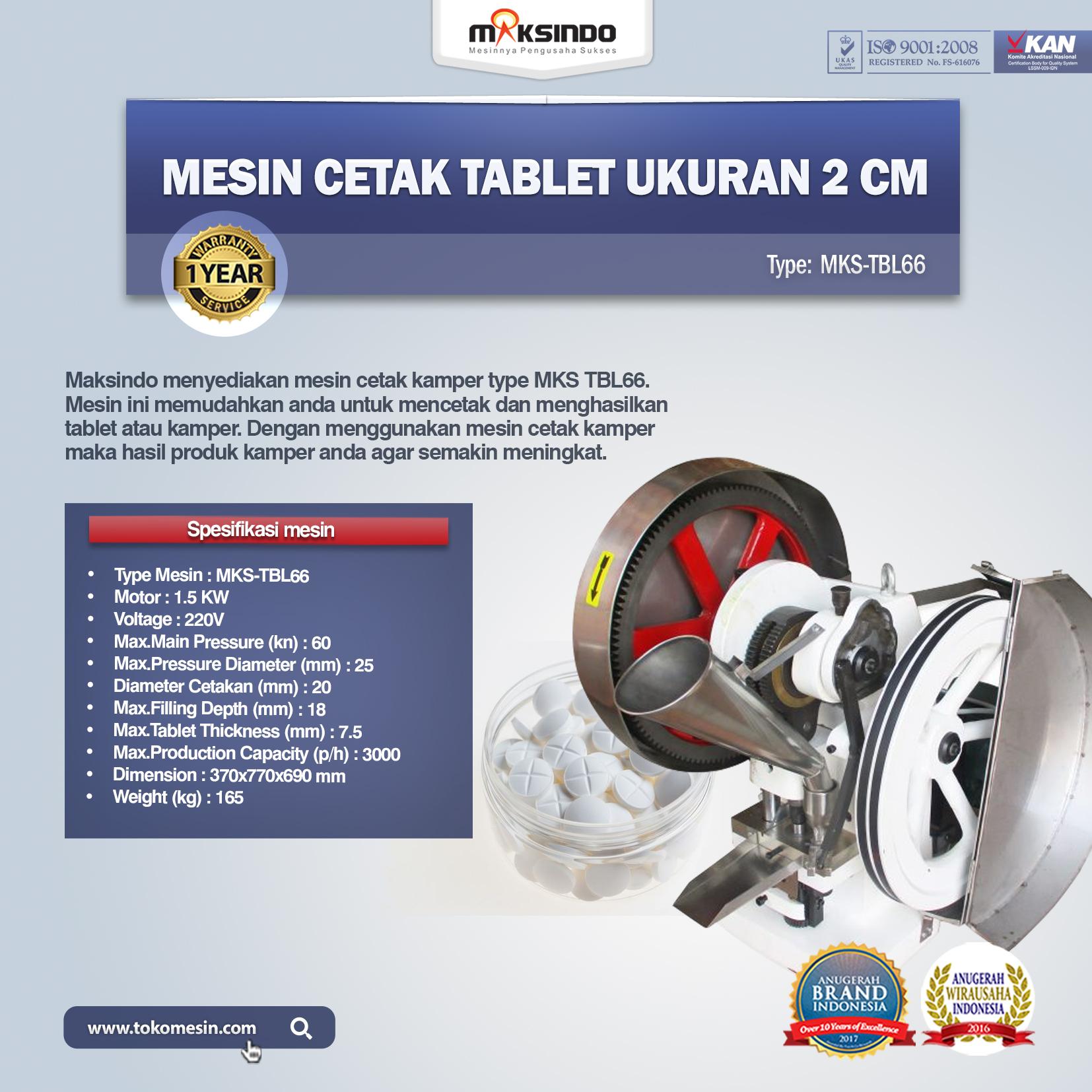 Mesin Cetak Tablet Ukuran 2 Cm MKS-TBL66