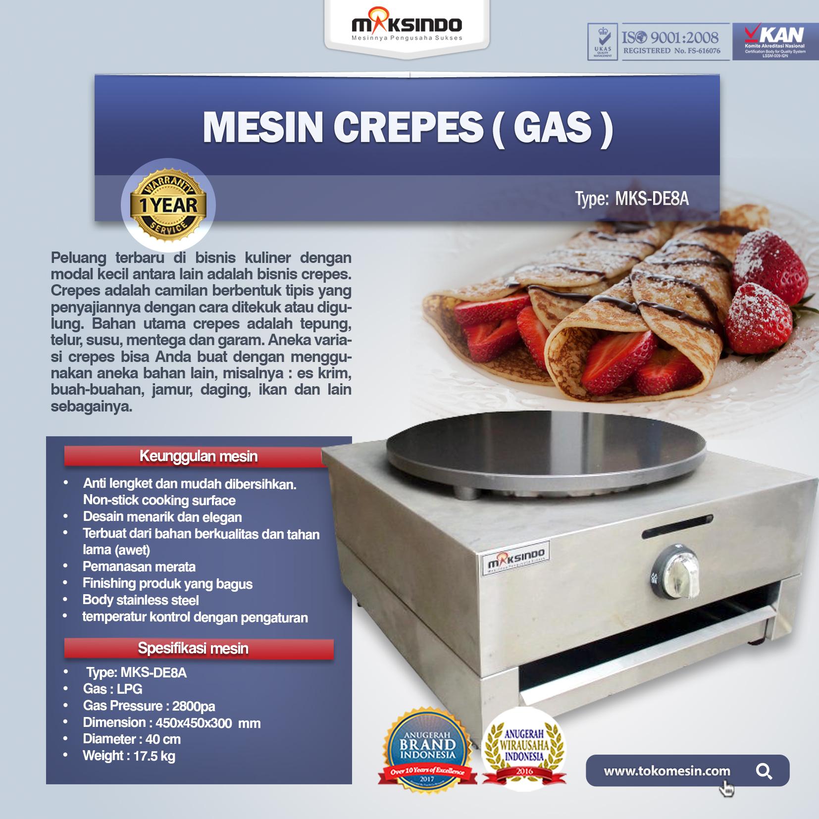 Mesin Crepes (Gas) MKS-DE8A