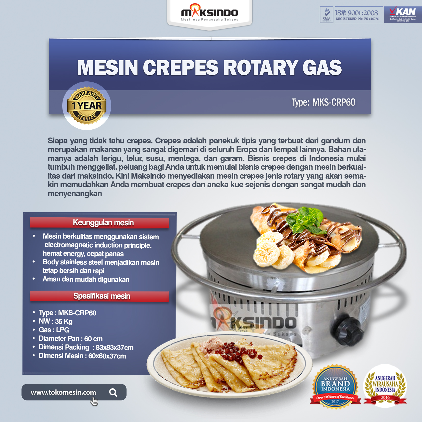 Mesin Crepes Rotary Gas MKS-CRP60