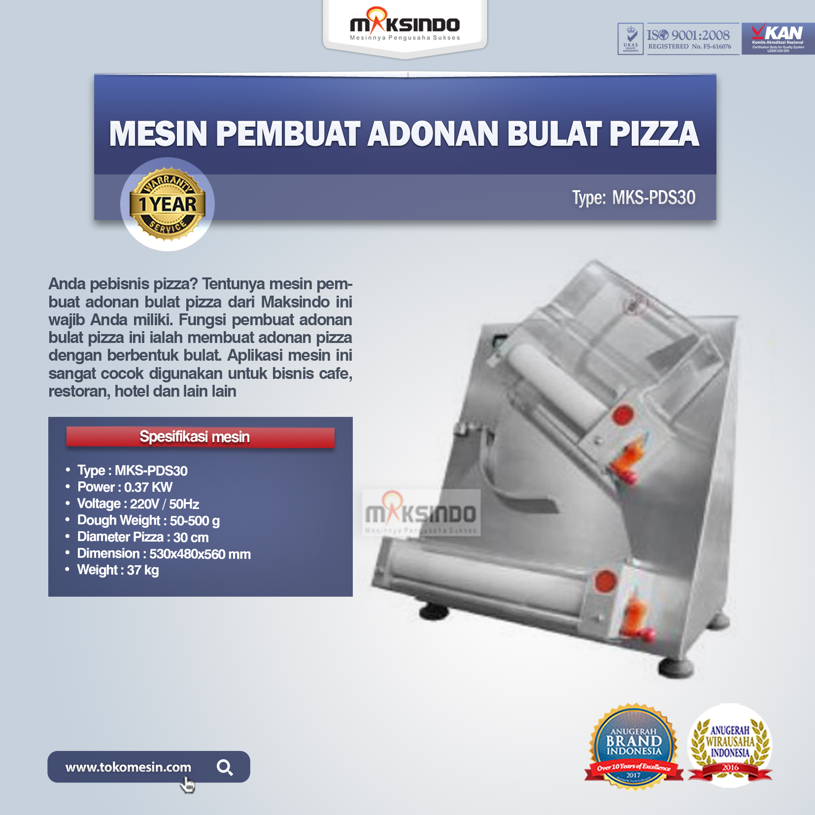Mesin Pembuat Adonan Bulat Pizza MKS-PDS30