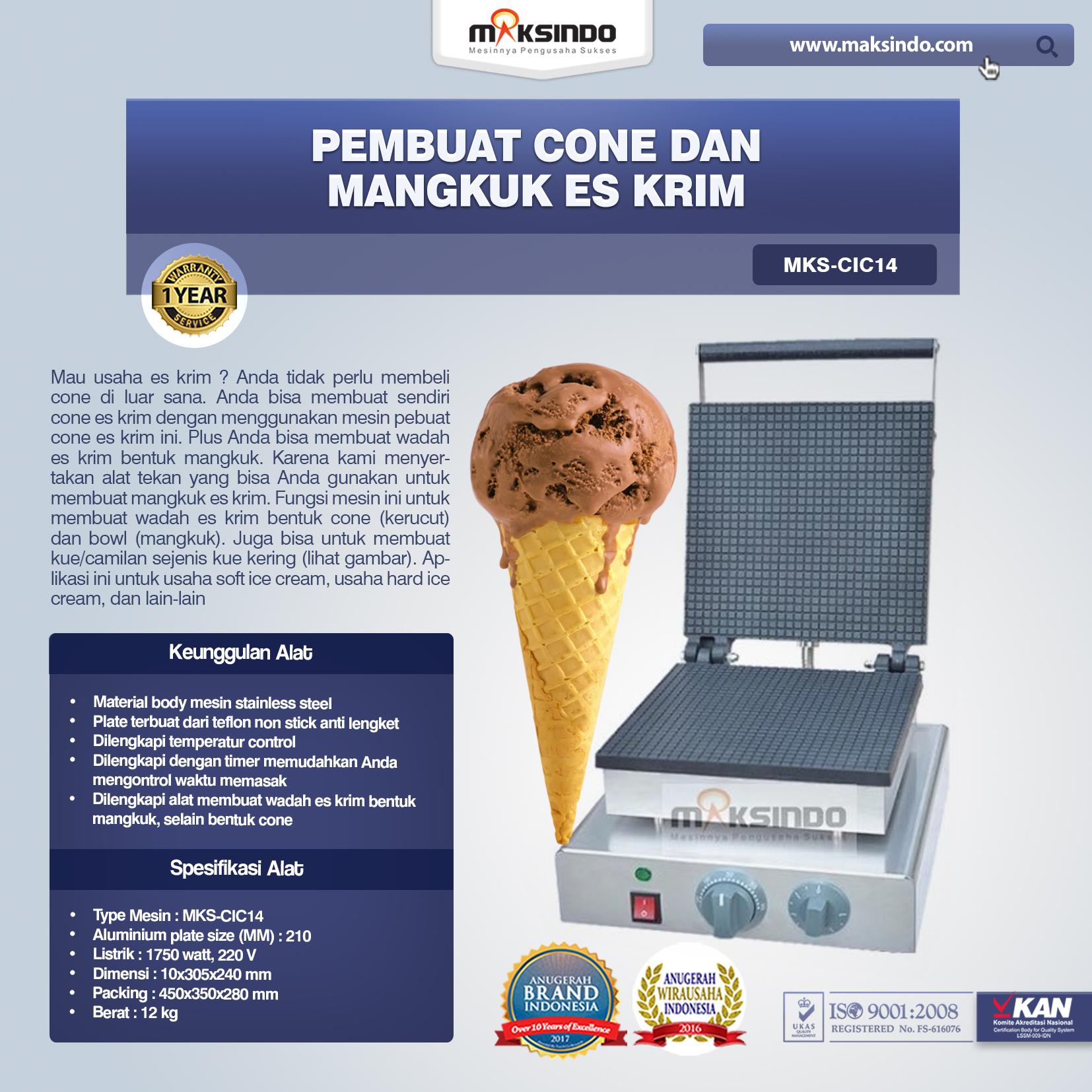 Pembuat Cone dan Mangkuk Es Krim MKS-CIC14