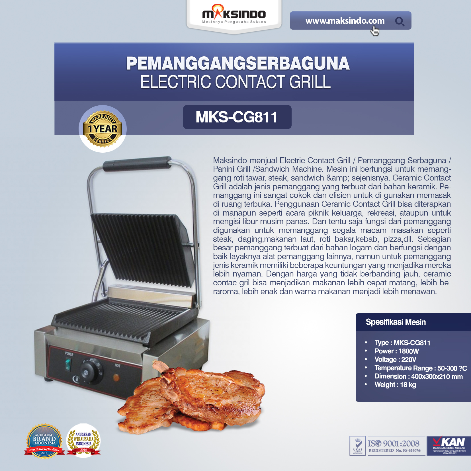 Electric Contact Grill MKS-CG811