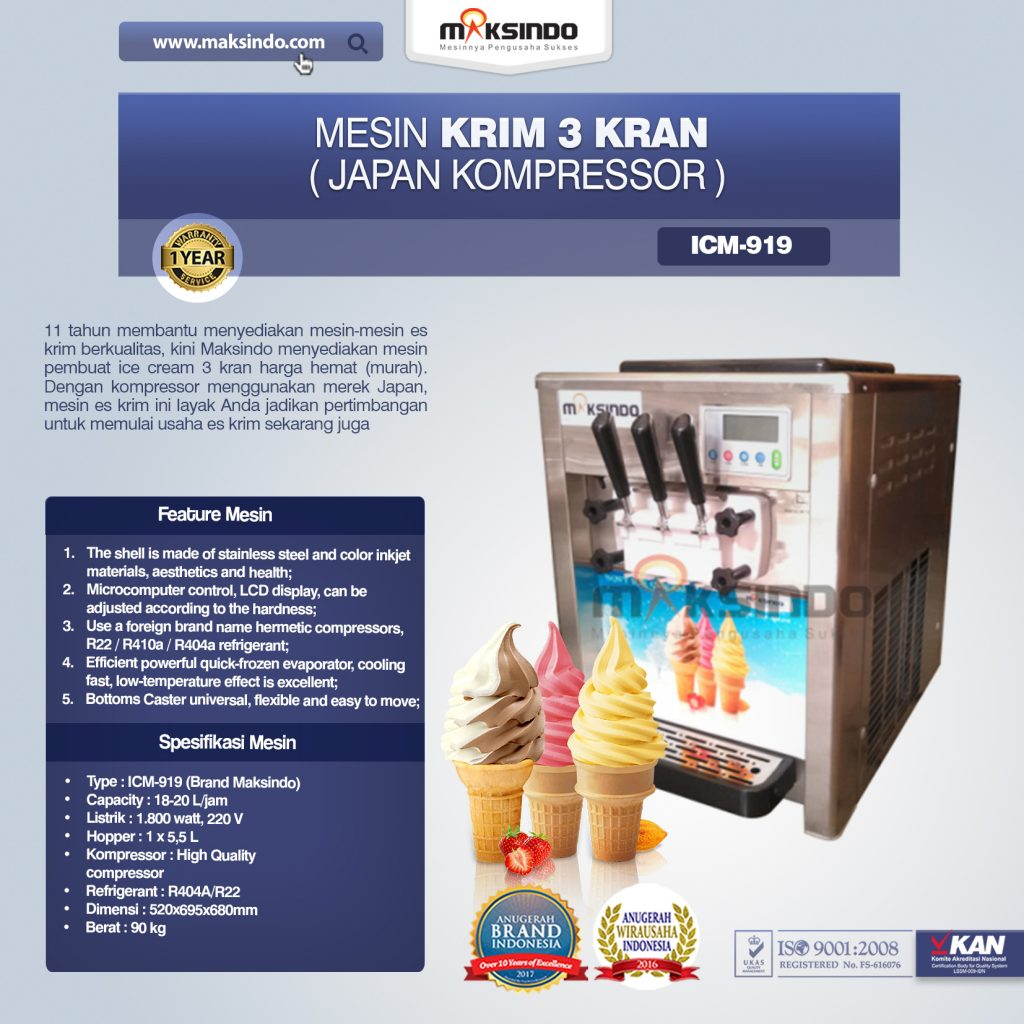 Mesin Es Krim 3 Kran Japan Kompressor ICM-919