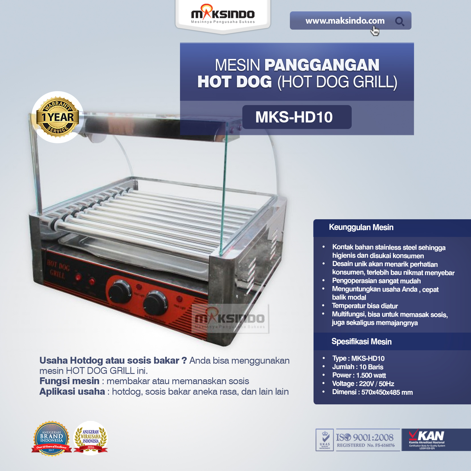 Mesin Panggangan Hot Dog Hot Dog Grill MKS-HD10