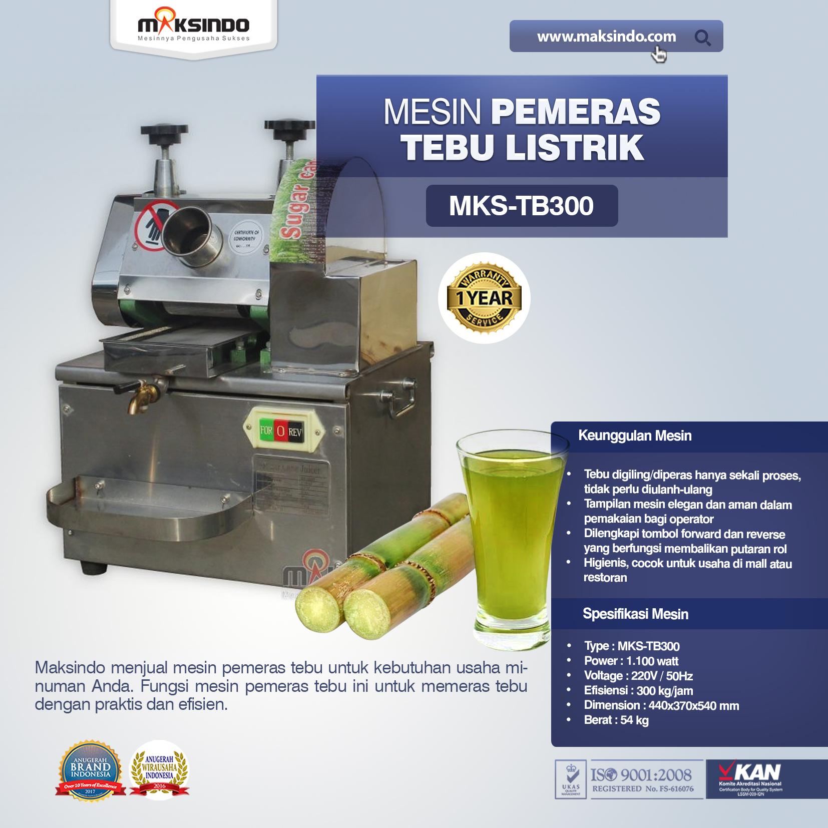 Mesin Pemeras Tebu Listrik MKS-TB300