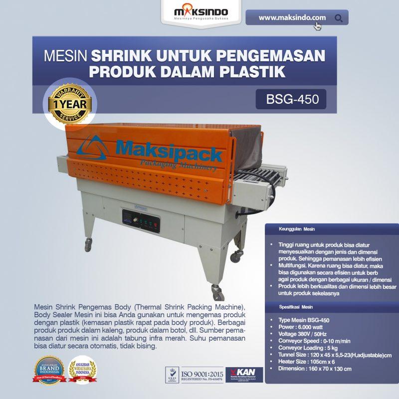 Jual Mesin Shrink Untuk Pengemasan Produk Dalam Plastik BSG-450 di Tangerang