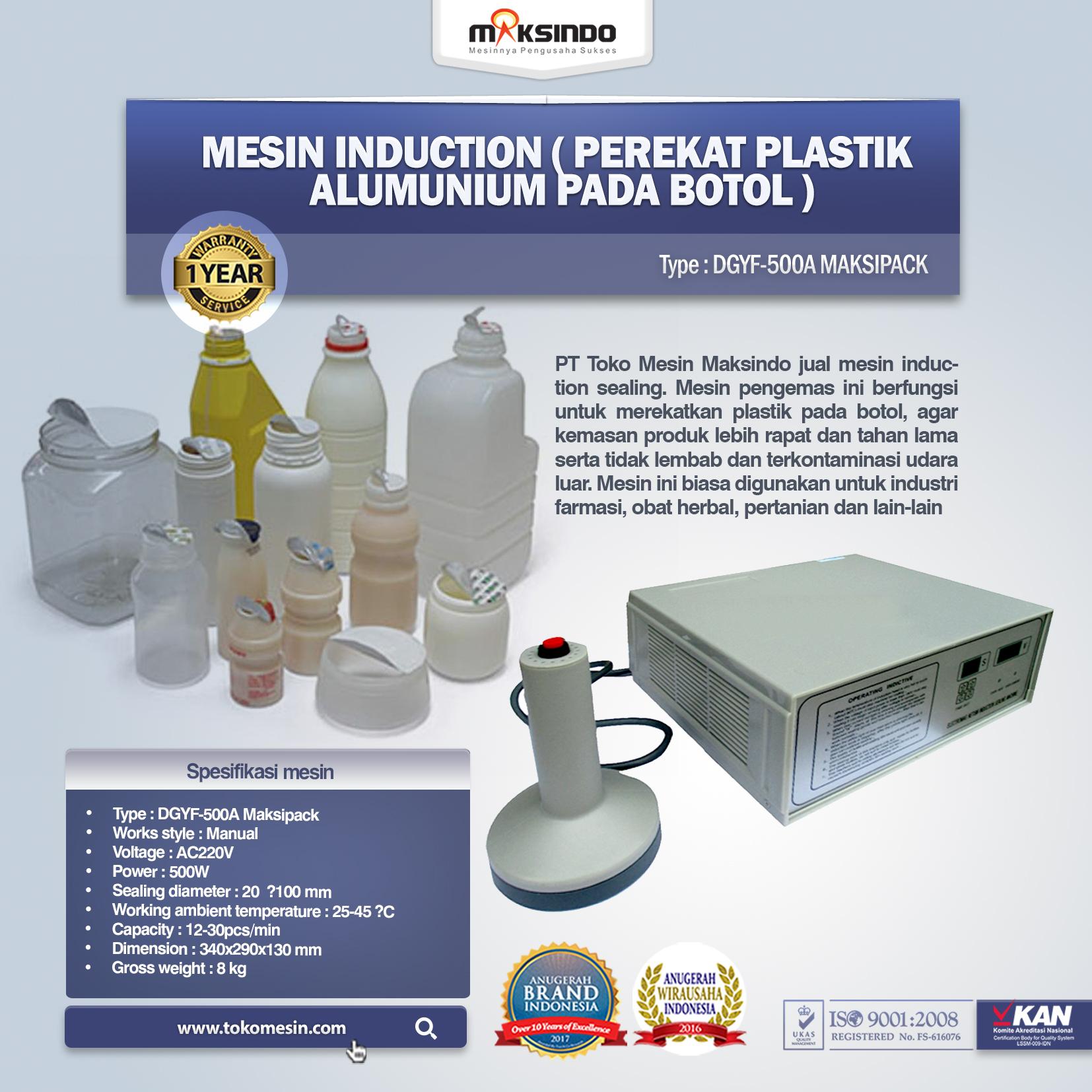 Mesin Induction (Perekat Plastik Alumunium Pada Botol) DGYF-500A Maksipack