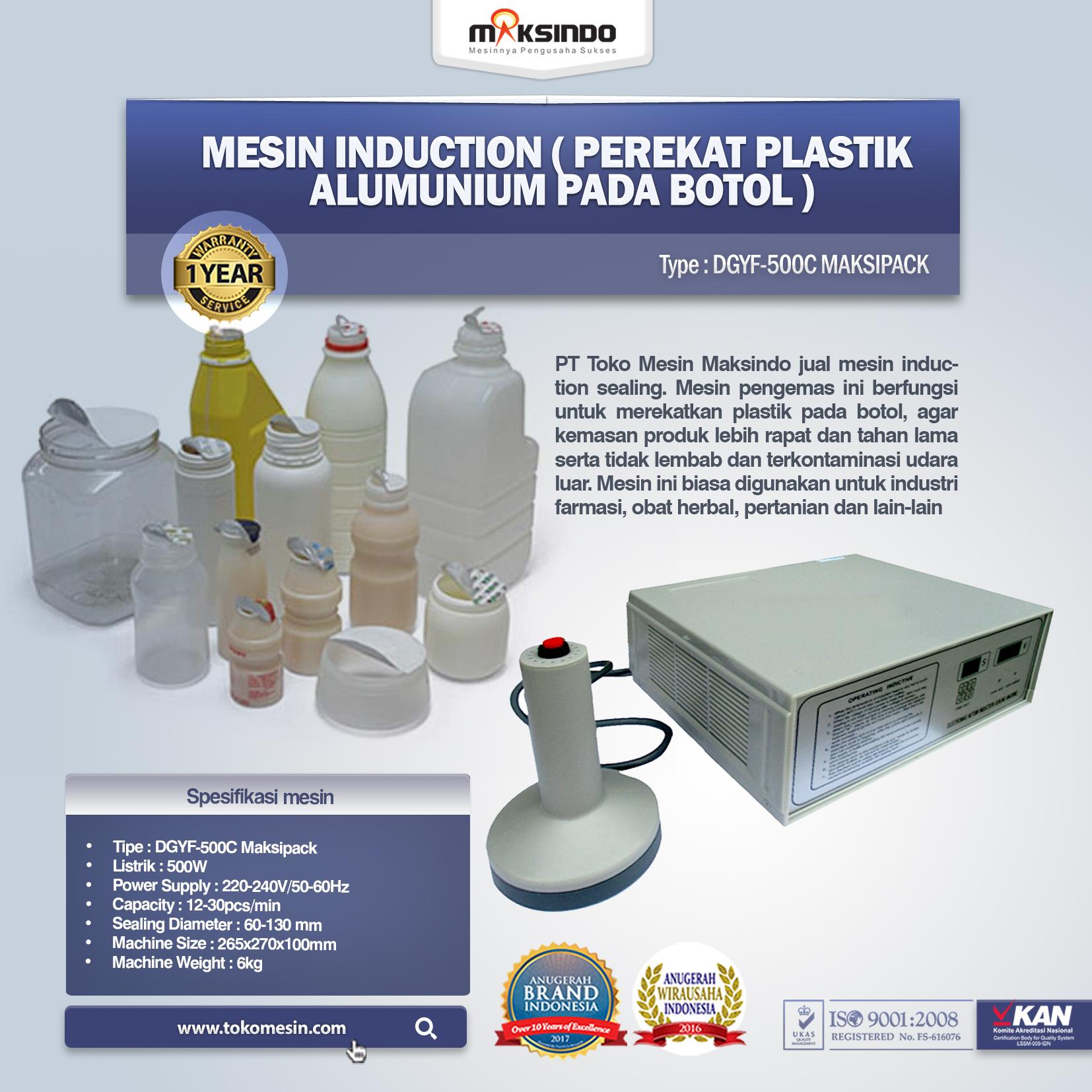 Mesin Induction (Perekat Plastik Alumunium Pada Botol) DGYF-500C Maksipack