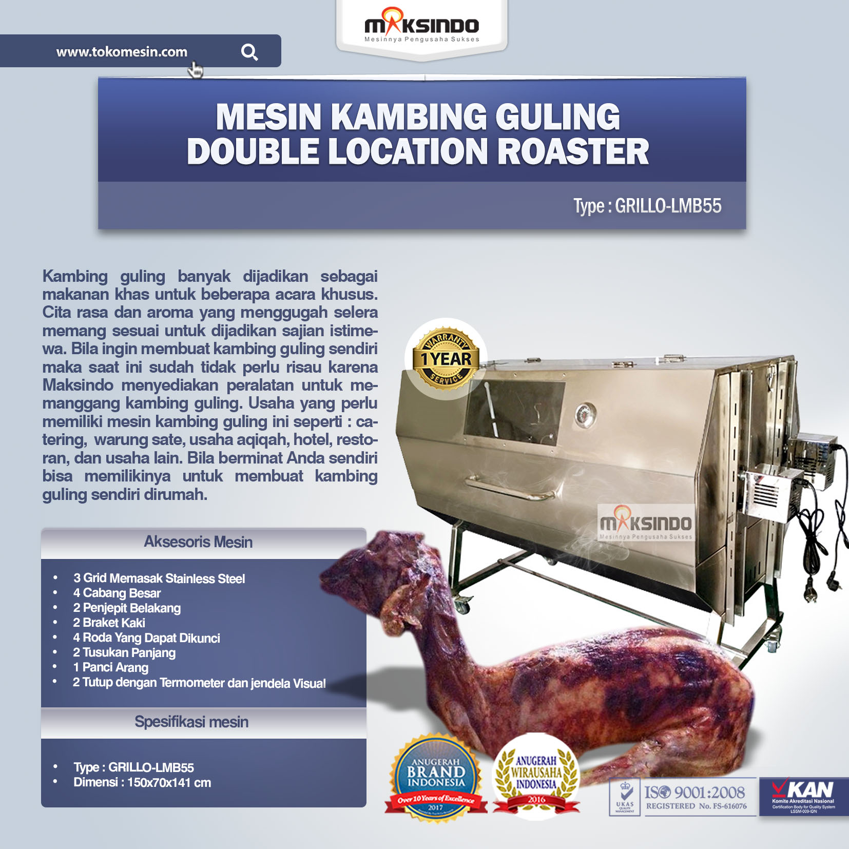 Mesin Kambing Guling Double Location Roaster GRILLO-LMB55