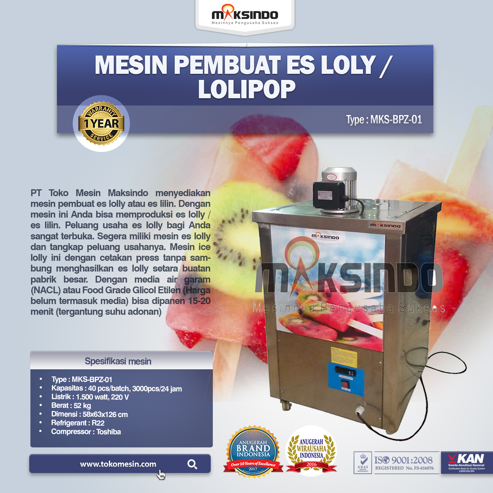 Mesin Pembuat Es Loly Lolipop MKS-BPZ-01