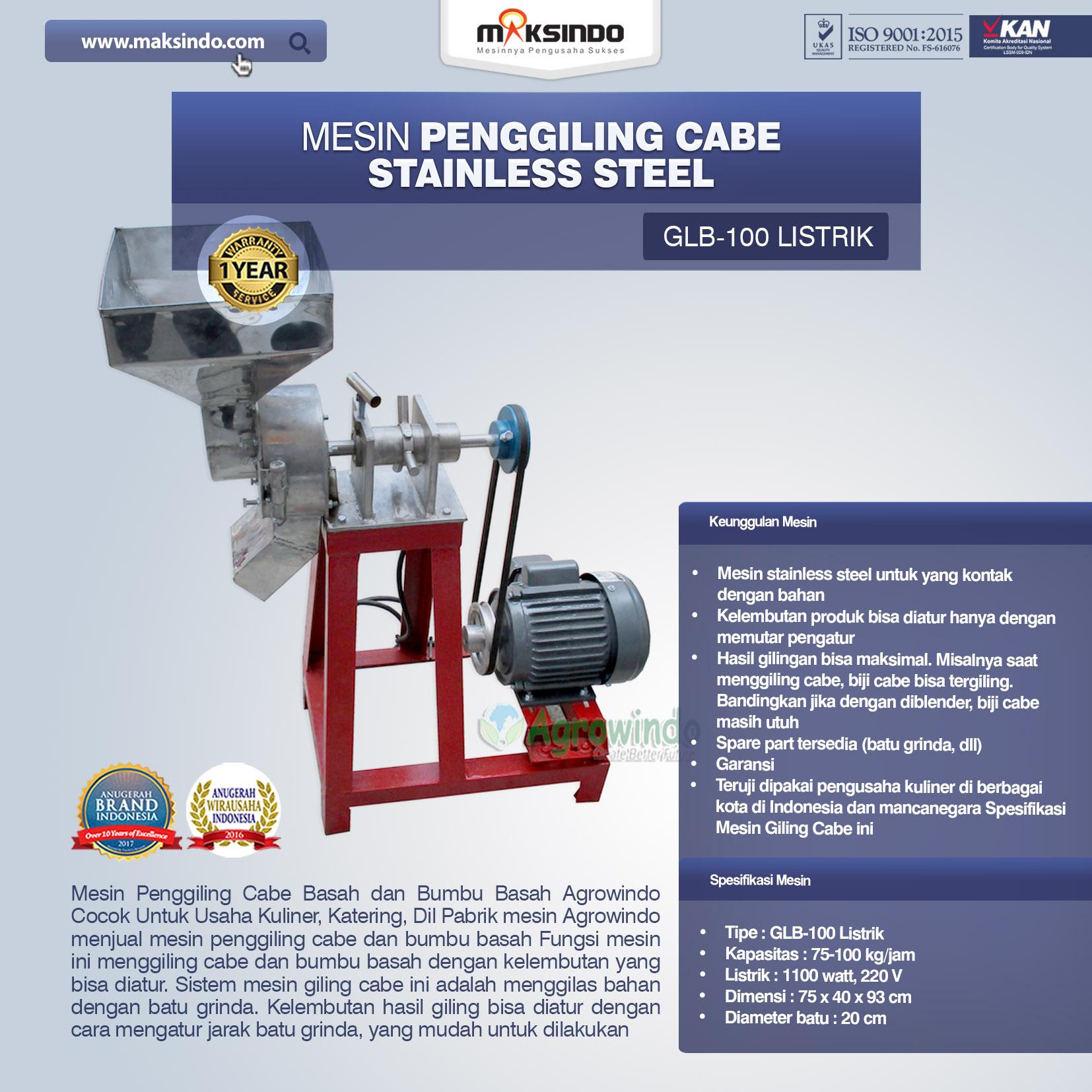 Mesin Penggiling Cabe Stainless Steel GLB-100 Listrik