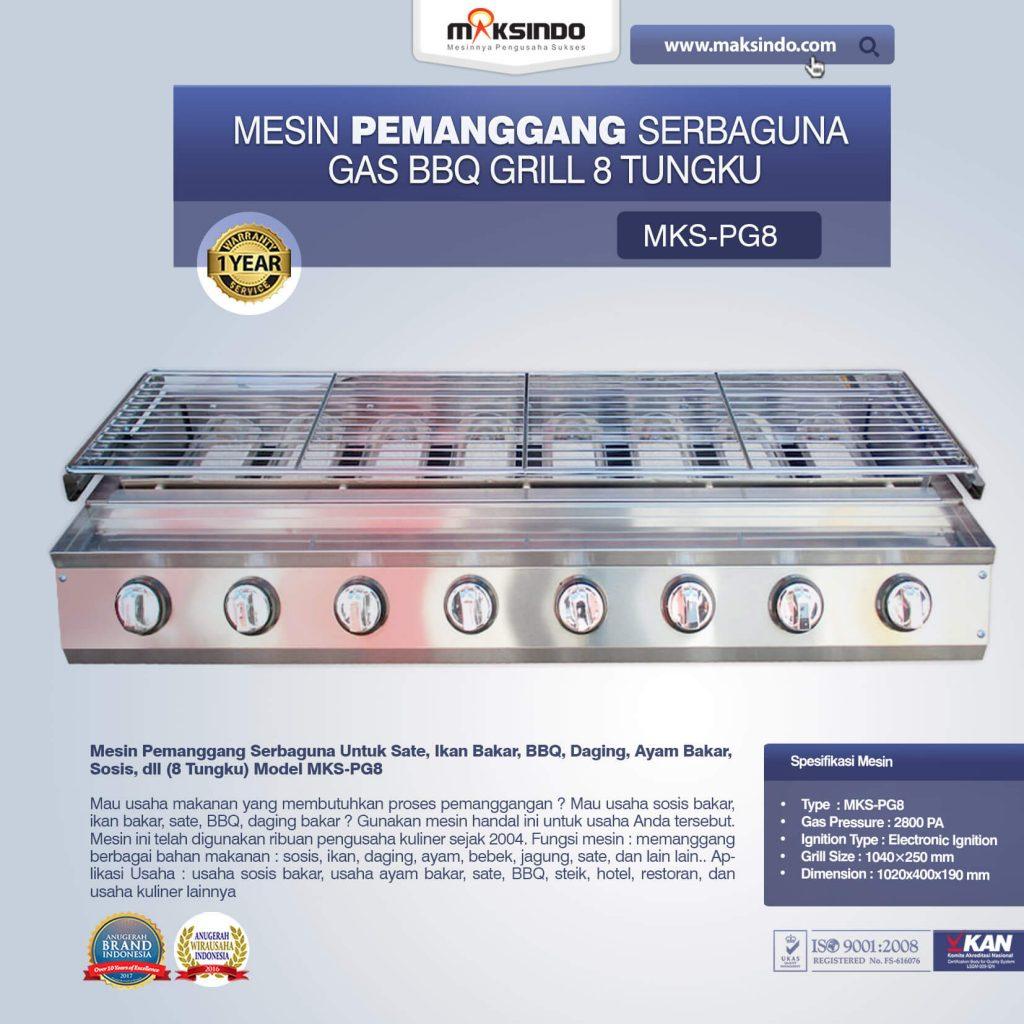 Pemanggang Serbaguna Gas BBQ Grill 8 Tungku MKS-PG8 (1)