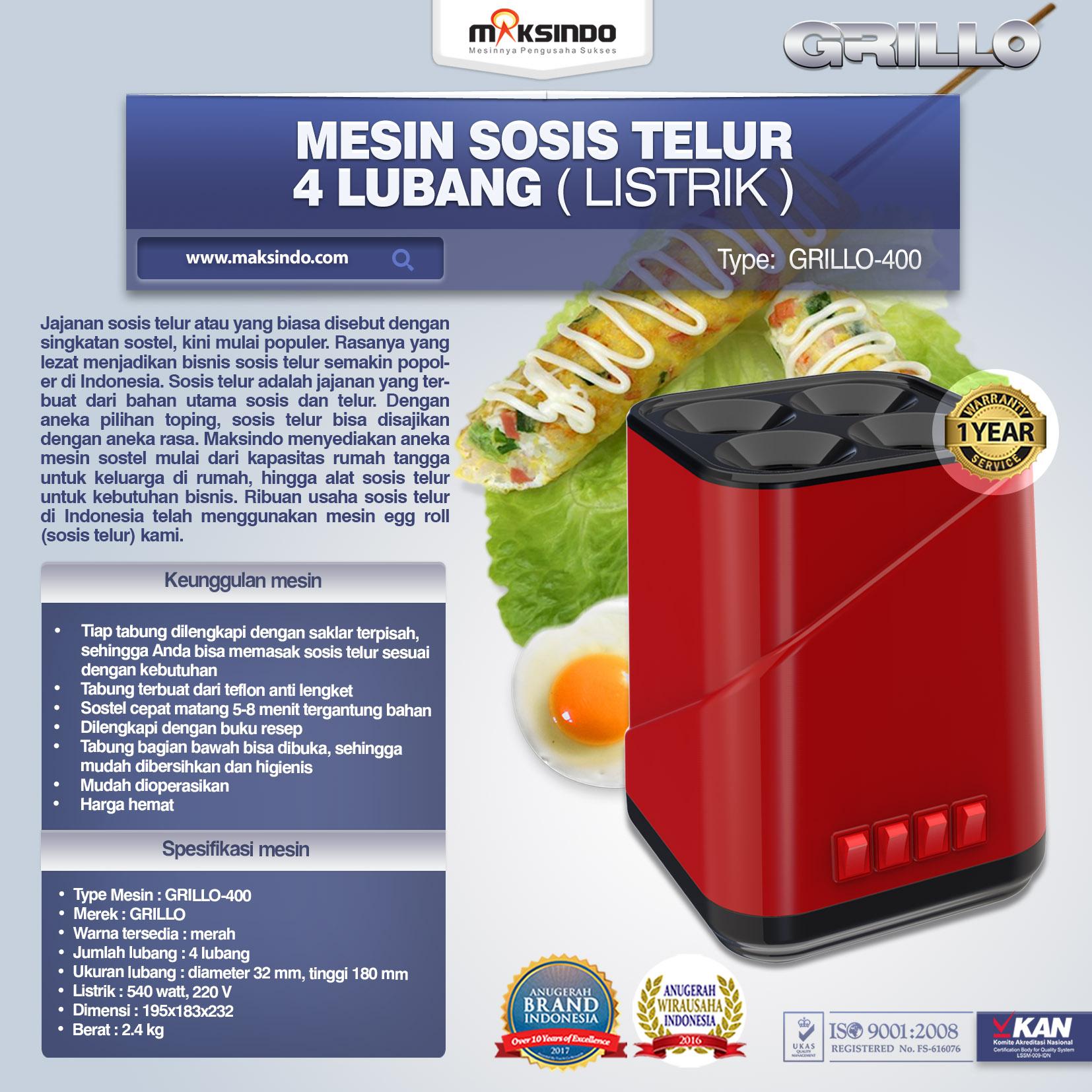 MESIN SOSIS TELUR 4 LUBANG ( Egg Roll )Grillo-400
