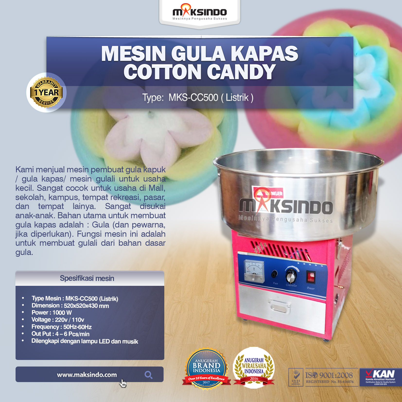 Mesin GULALI Cotton Candy MKS-CC500 (Listrik)