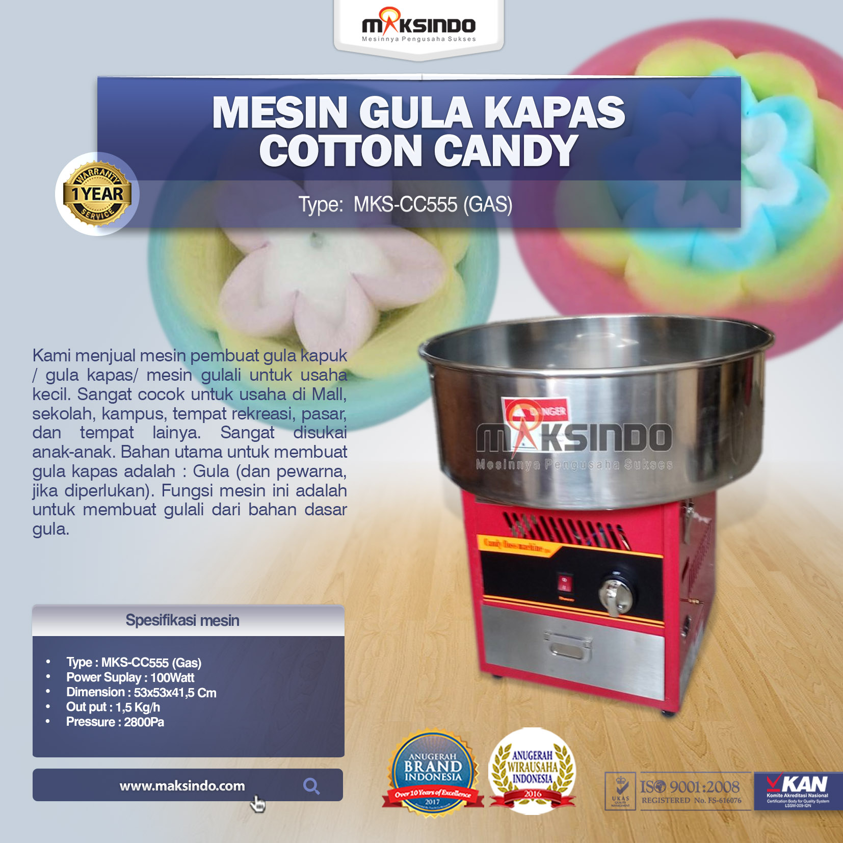 Mesin GULALI Cotton Candy MKS-CC555 (Gas)