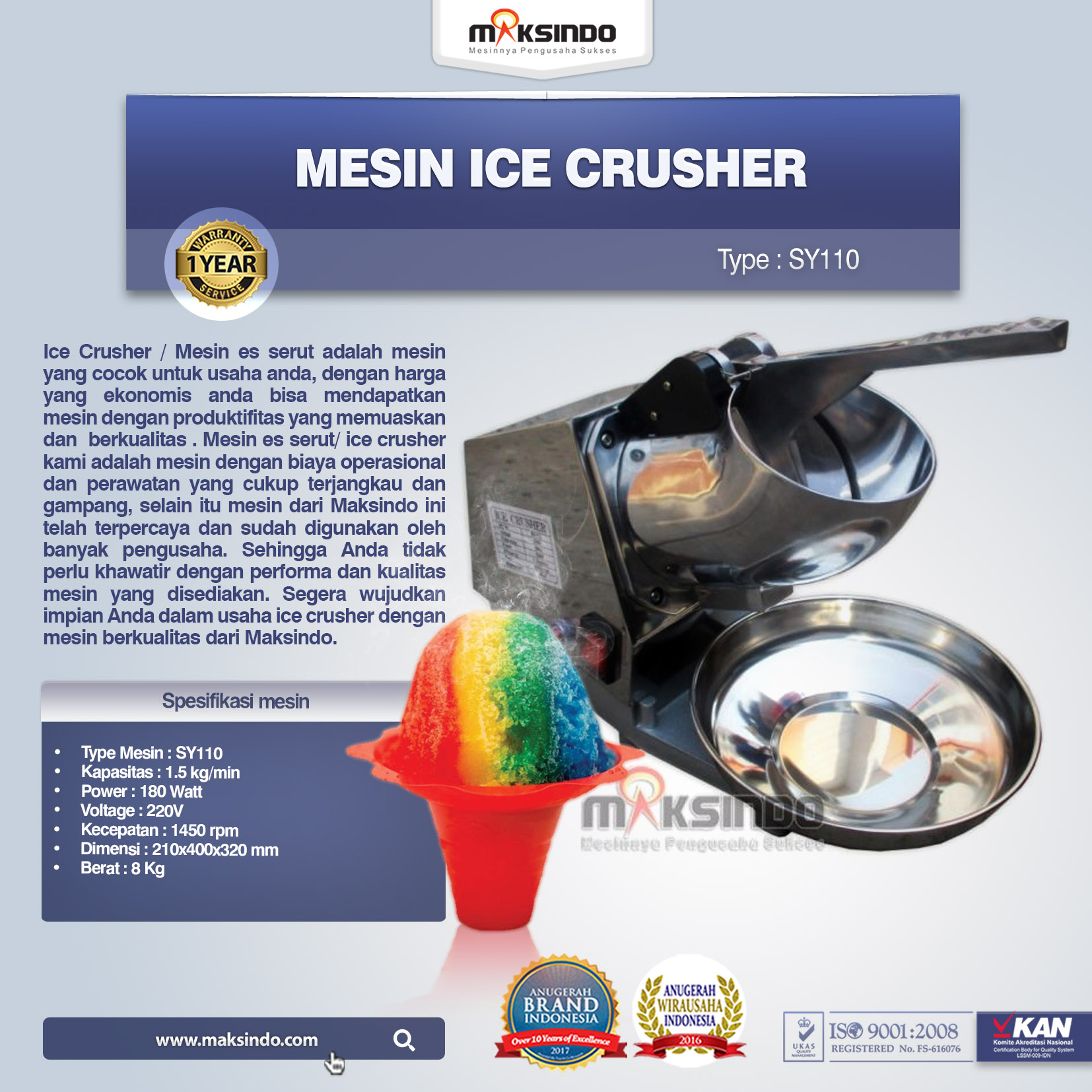 Mesin Ice Crusher SY110
