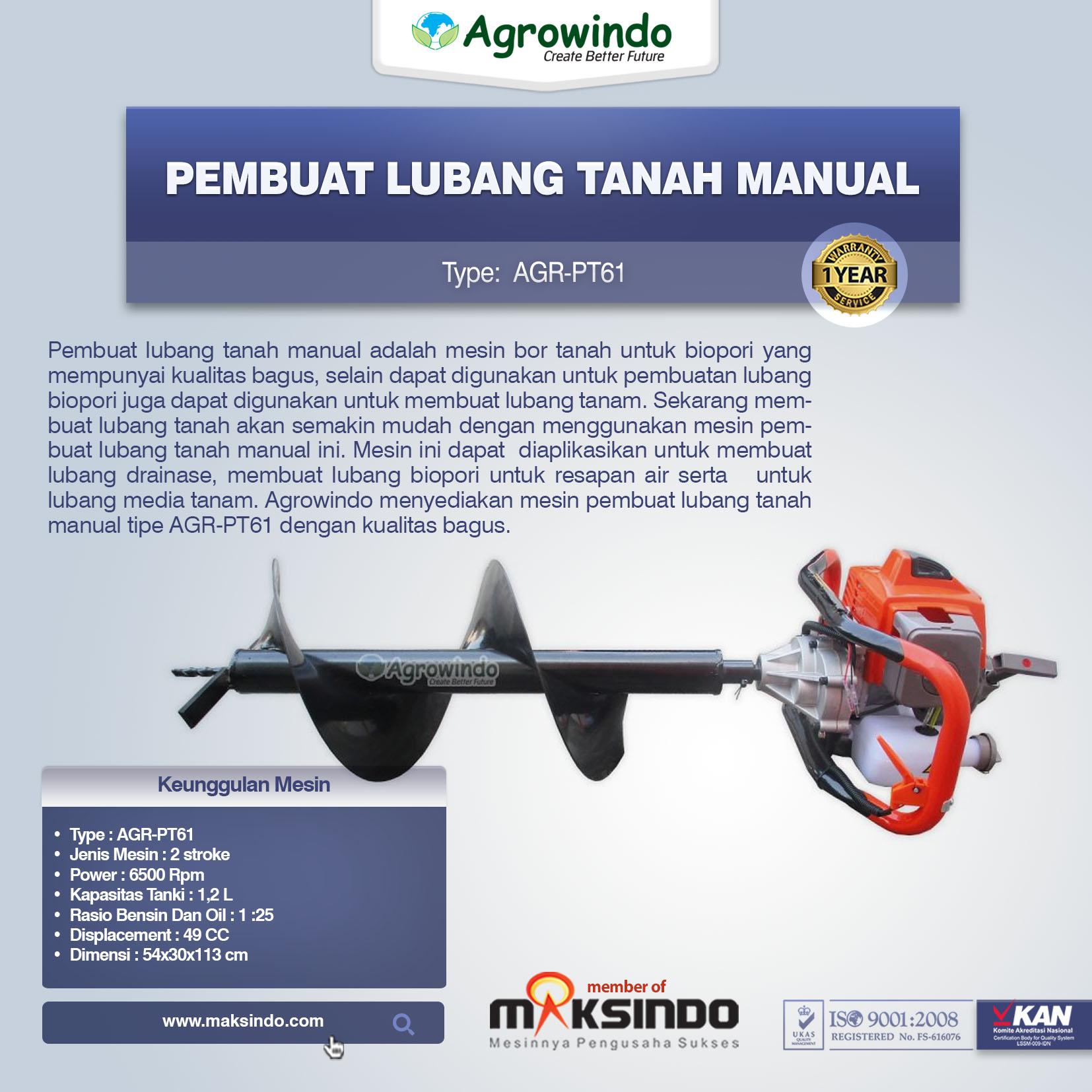 Pembuat Lubang Tanah Manual AGR-PT61
