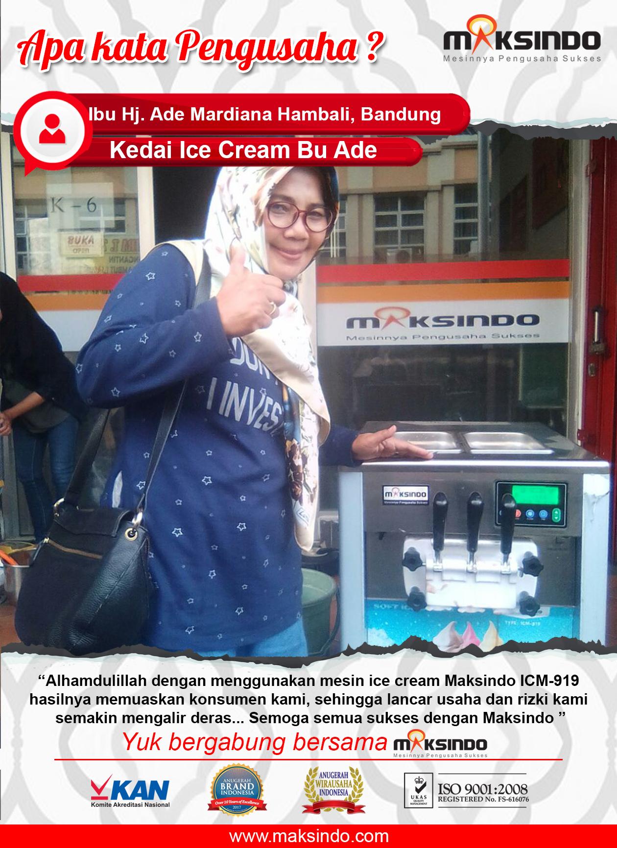 Kedai Ice Cream Bu Ade : Bisnis Ice Cream Makin Lancar Dengan Mesin Ice Cream Maksindo