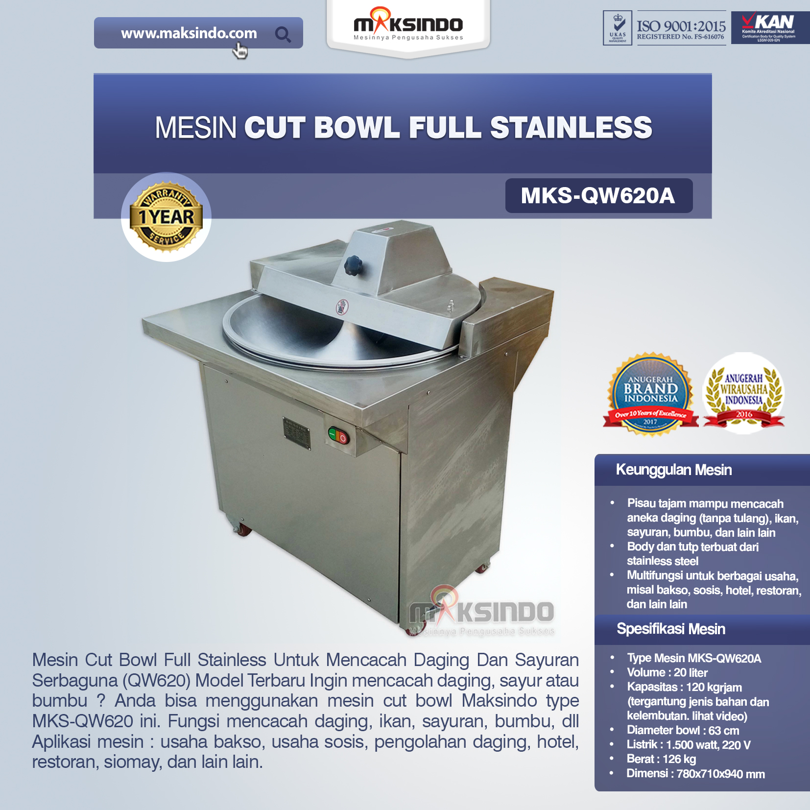 Mesin Cut Bowl Full Stainless MKS-QW620A