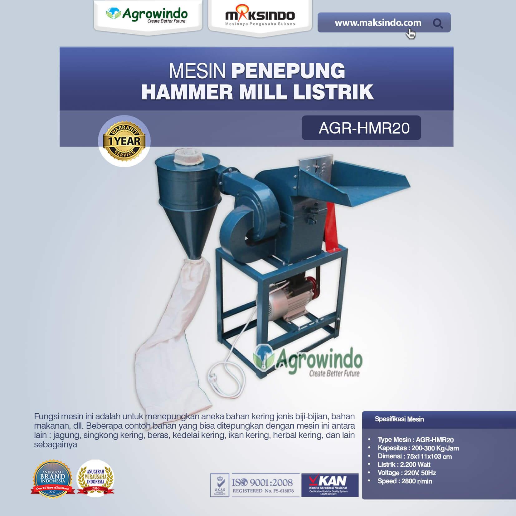 Mesin Penepung Hammer Mill Listrik AGR-HMR20 (1)