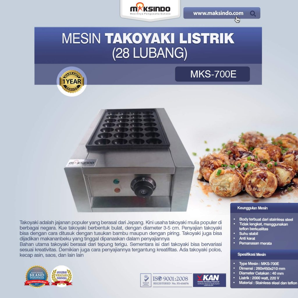 Mesin Takoyaki Listrik 28 Lubang MKS-700E (1)
