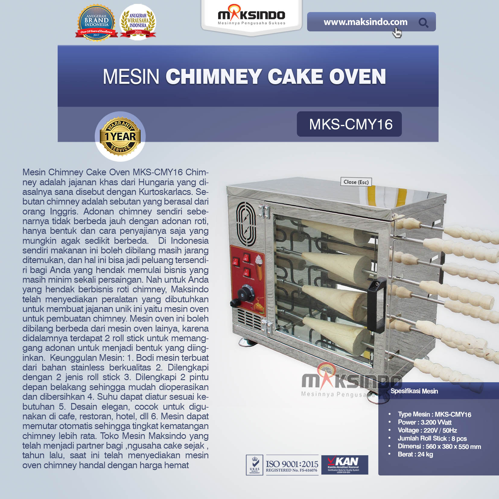 Jual Mesin Chimney Cake Oven MKS-CMY16 di Tangerang