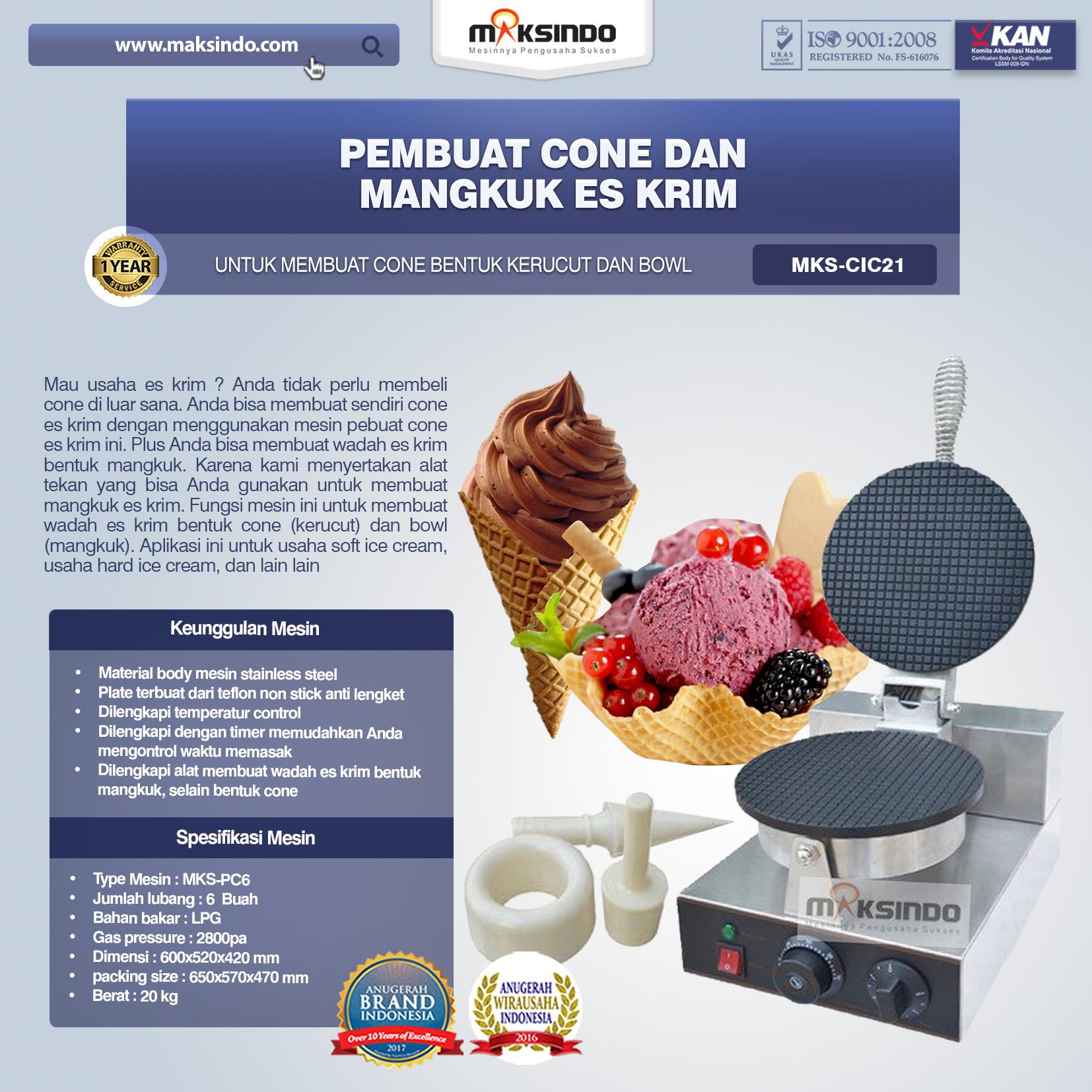 Pembuat Cone dan Mangkuk Es Krim CIC21