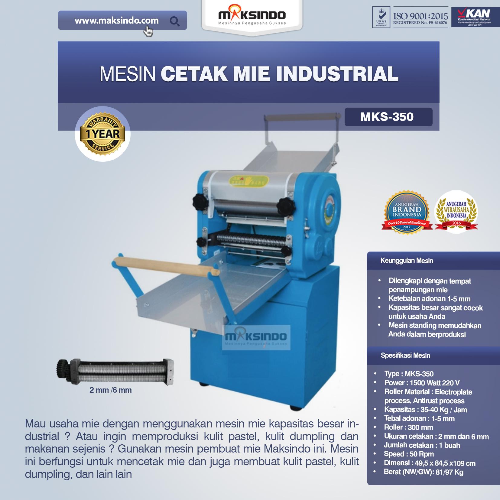 Jual Mesin Cetak Mie Industrial (MKS-350) di Tangerang