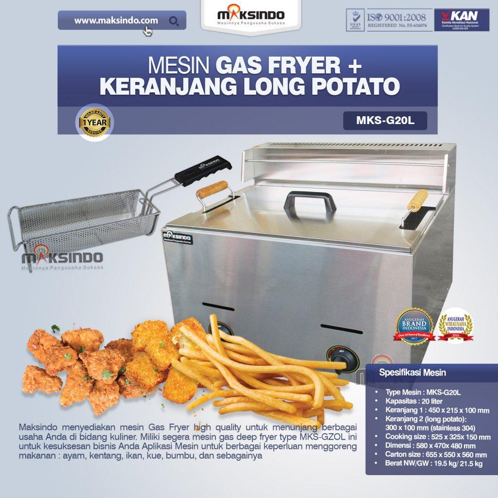 Mesin Gas Fryer MKS-GZOL + Keranjang Long Potato MKS-G20L