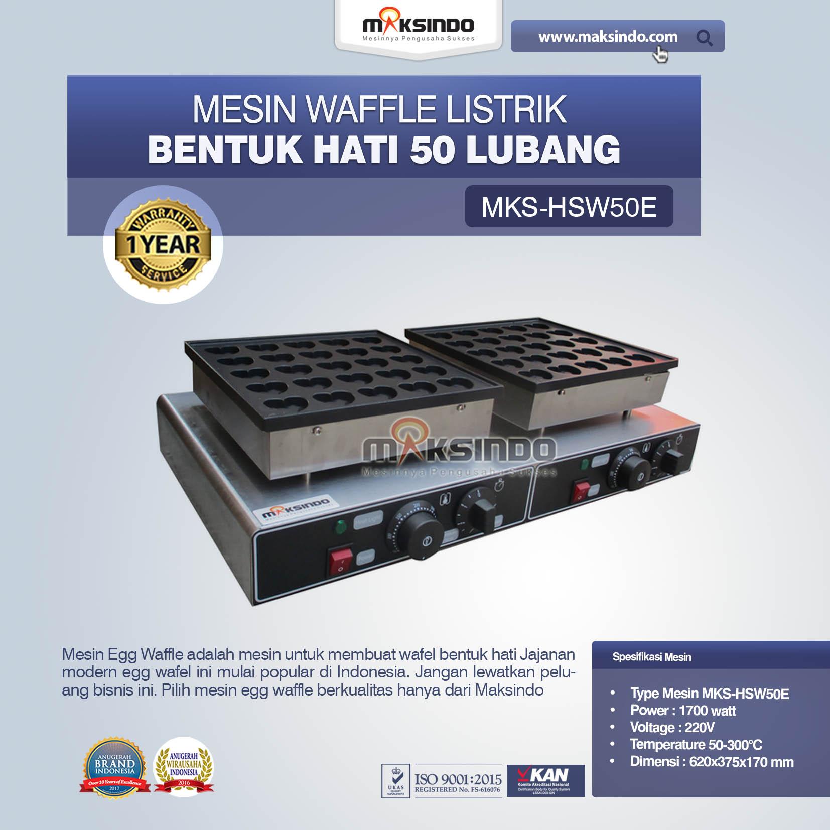 Jual Listrik Waffle Bentuk Hati 50 Lubang MKS-HSW50E di Tangerang