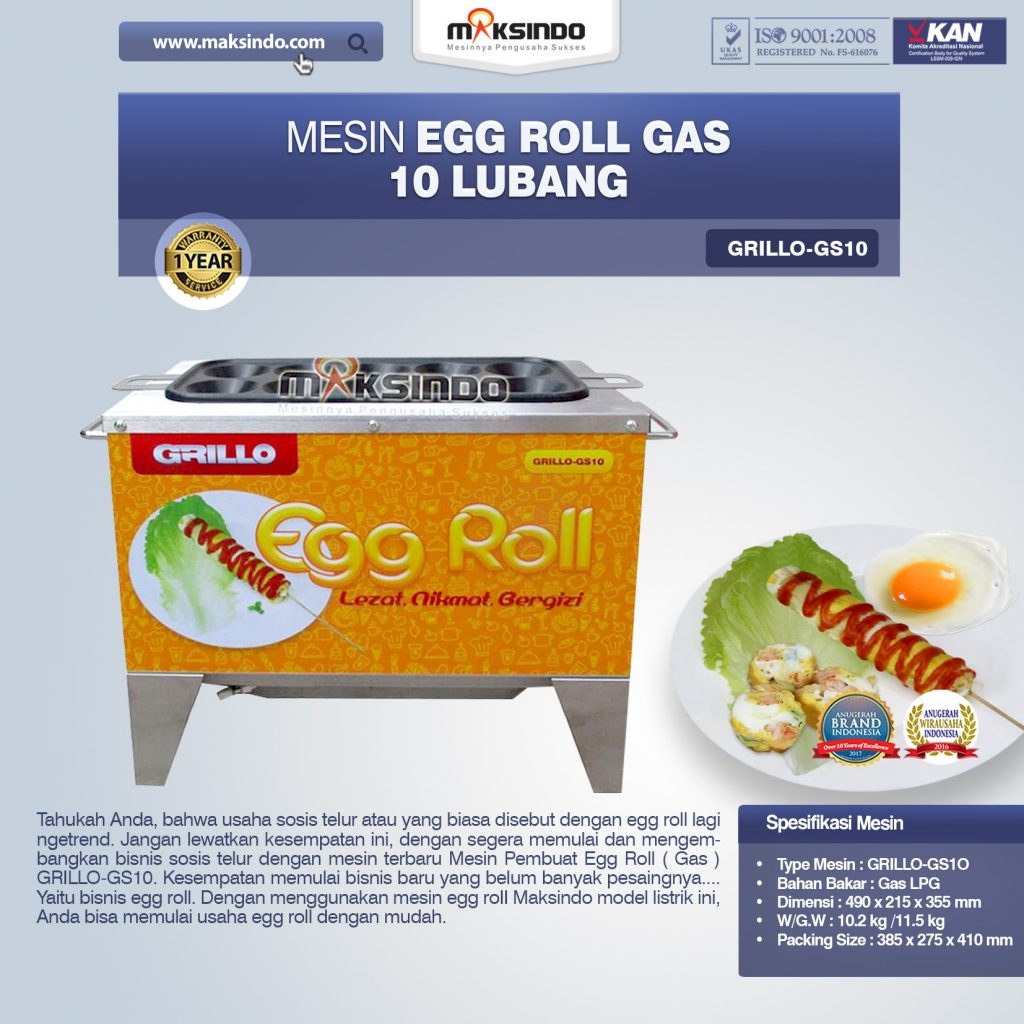 Mesin Egg Roll Gas 10 Lubang GRILLO-GS10