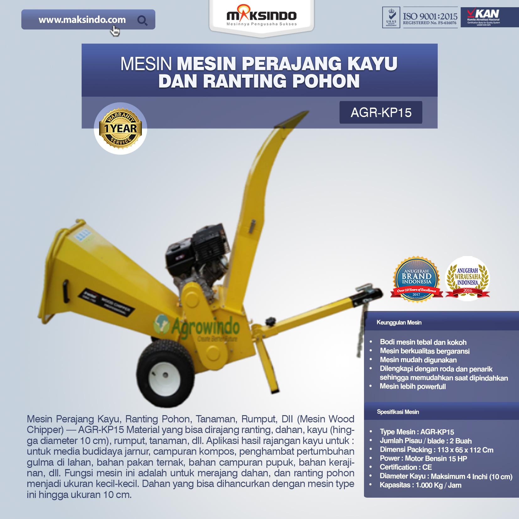 Mesin Perajang Kayu Dan Ranting Pohon KP15