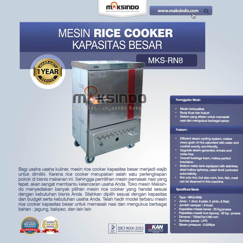 Mesin Rice Cooker Kapasitas Besar MKS-RN8