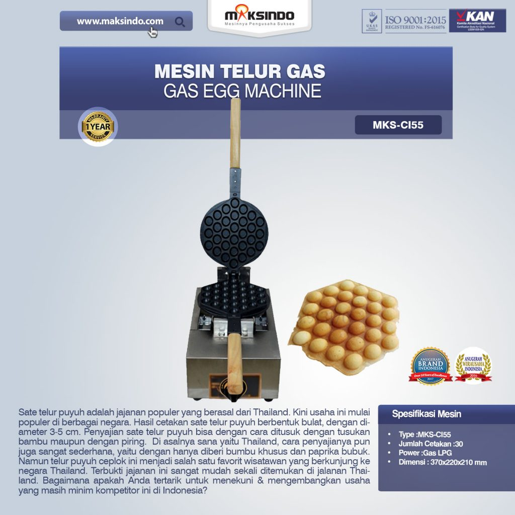 Mesin Telur Gas (Gas Egg Machine) MKS-CI55