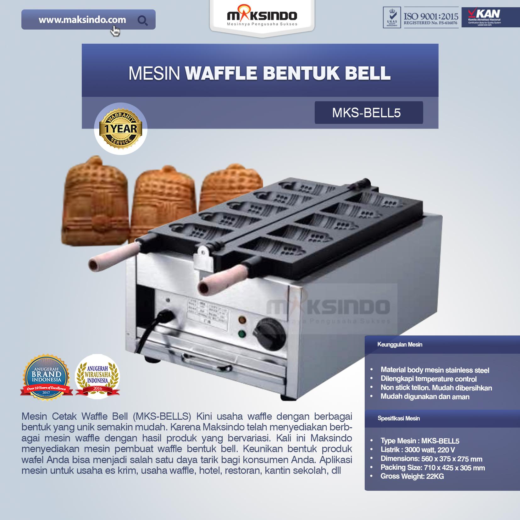 Mesin Waffle Bentuk Bell MKS-BELL5