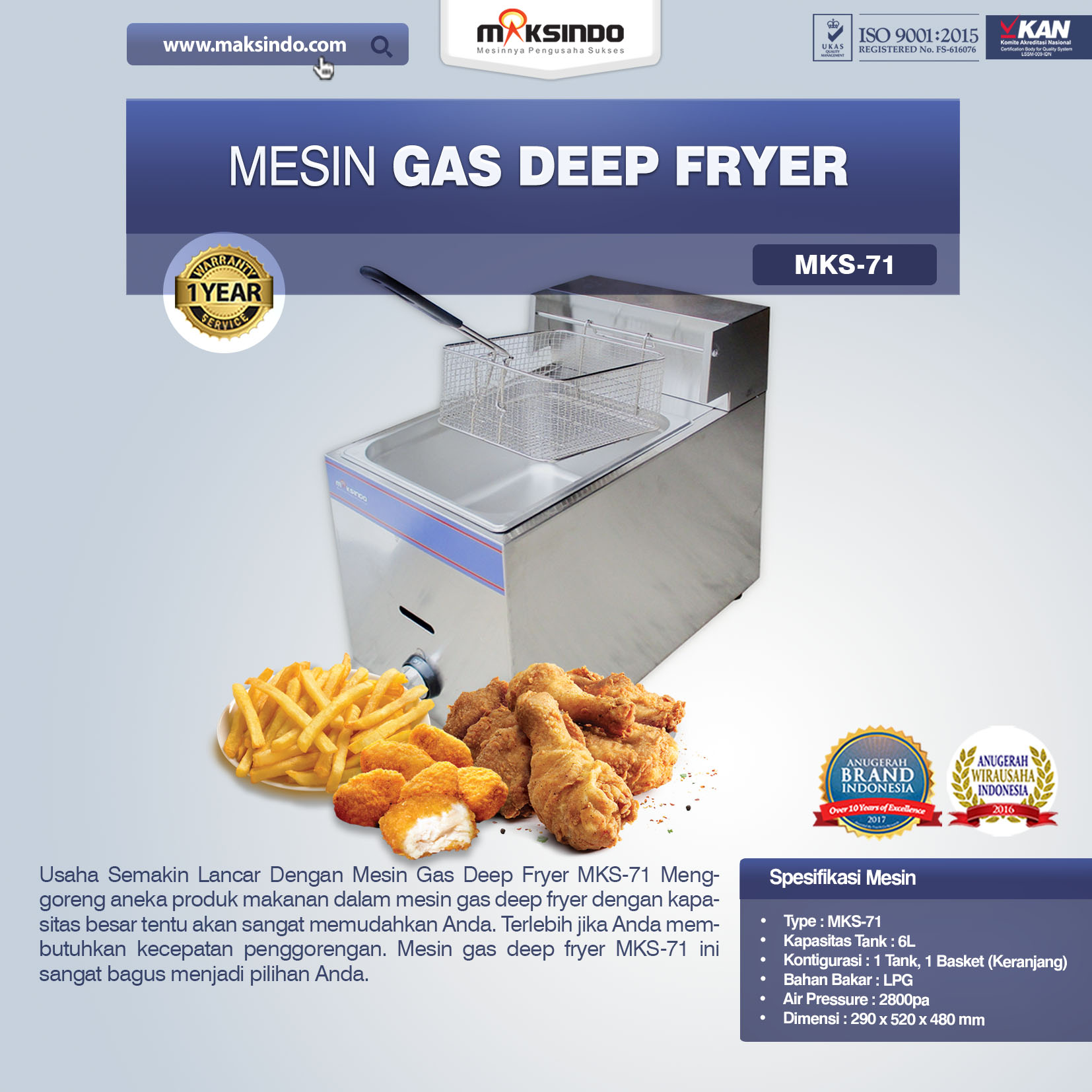 MesinDeep fryer MKS-71