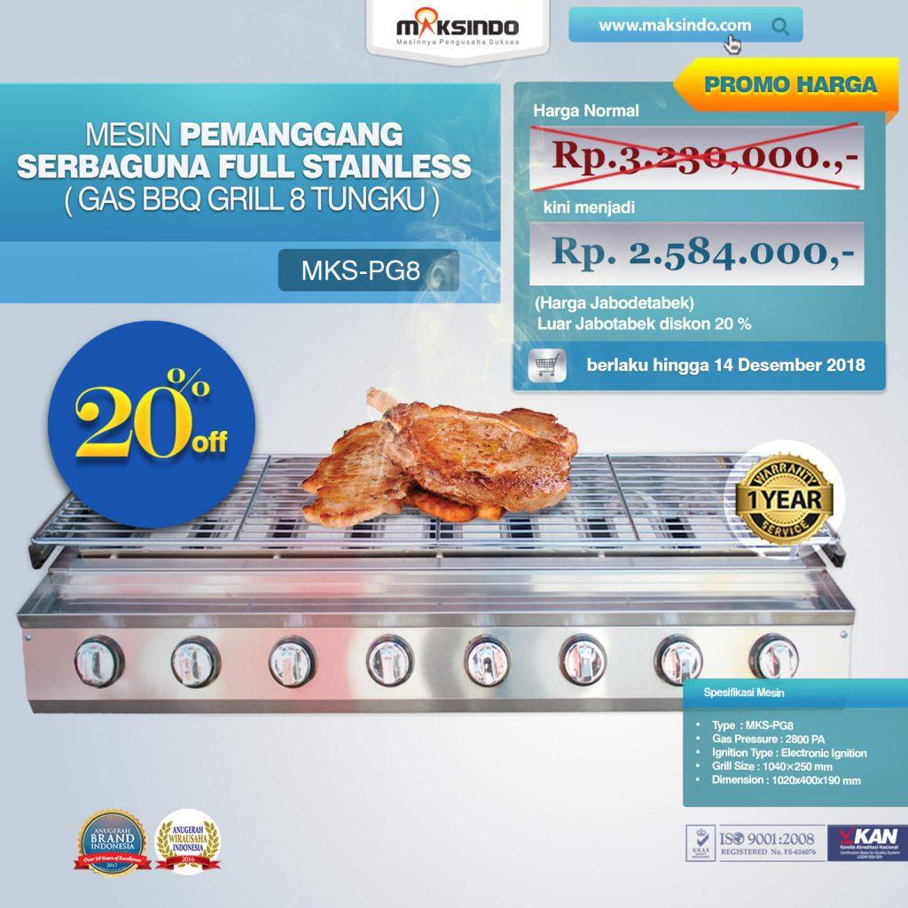 Pemanggang Serbaguna Gas BBQ Grill 8 Tungku MKS-PG8(1)(1)