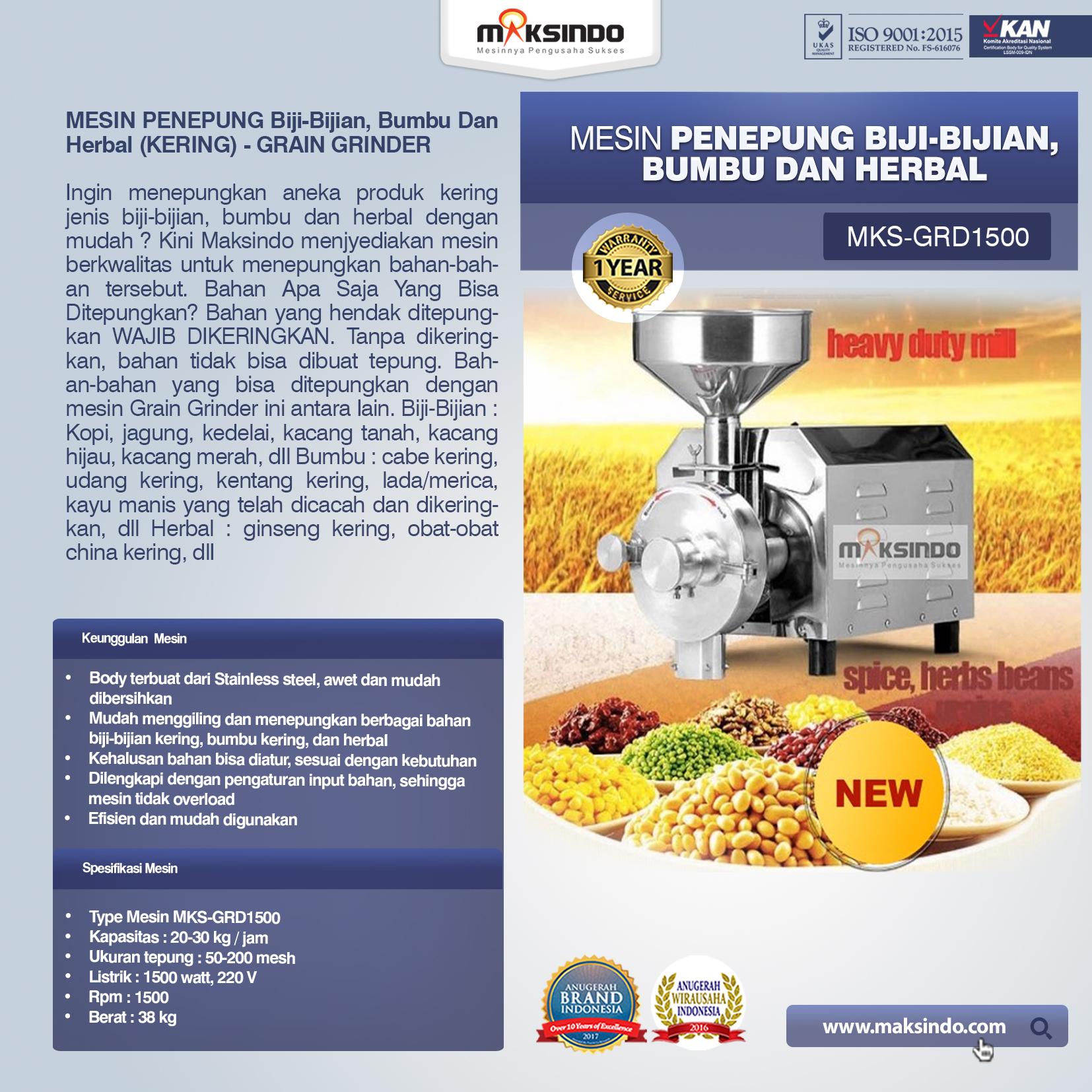 Penepung Biji, Bumbu Dan Herbal GRD1500
