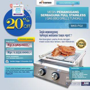 Jual Pemanggang Serbaguna Full Stainless – Gas BBQ Grill 2 Tungku di Tangerang
