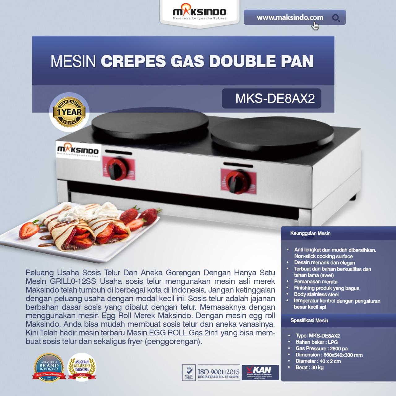 Jual Mesin Crepes Gas Double Pan (DE8Ax2) di Tangerang