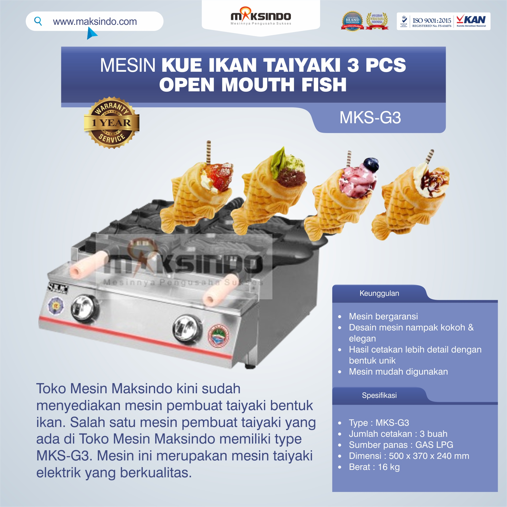 Jual Mesin Kue Ikan Taiyaki (3 pcs) – Open Mouth Fish di Tangerang