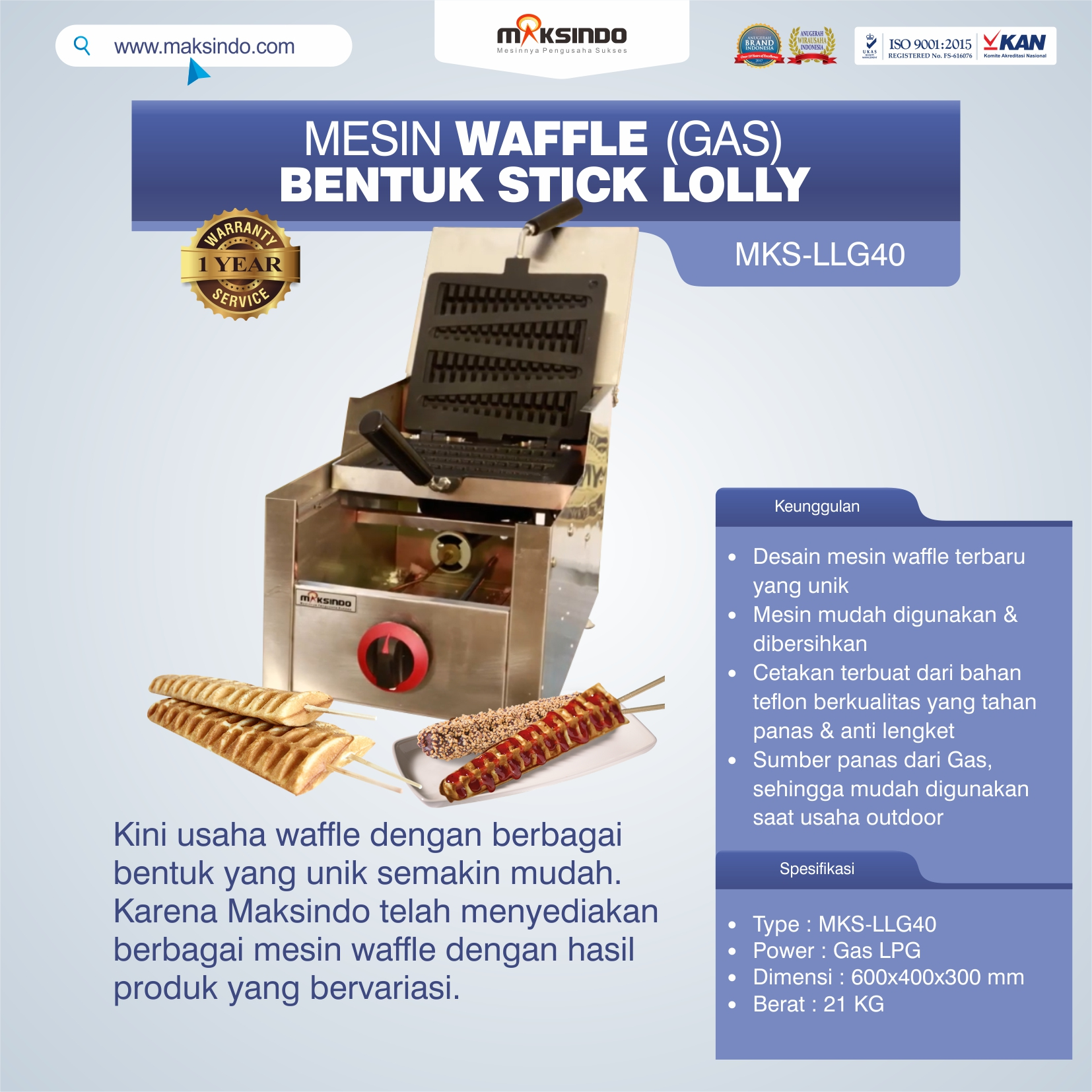 Jual Mesin Waffle Bentuk Stick Lolly (Gas) MKS-LLG40 di Tangerang