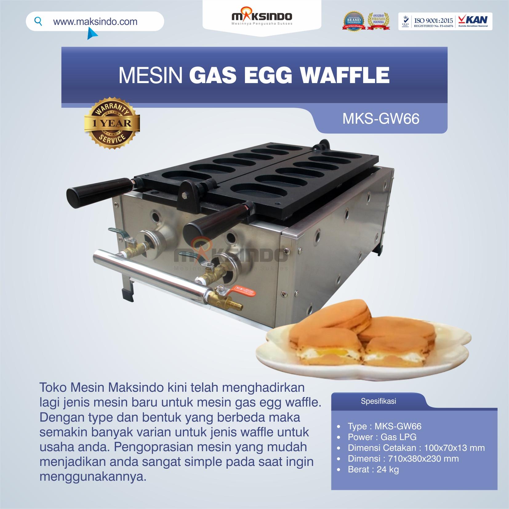 Jual Mesin Gas Egg Waffle MKS-GW66 di Tangerang